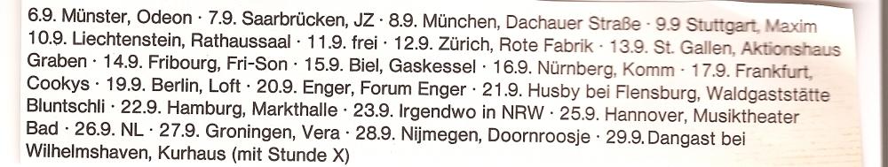 European tour Dates 1984